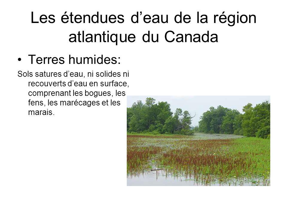 Les étendues d'eau de la région atlantique du Canada