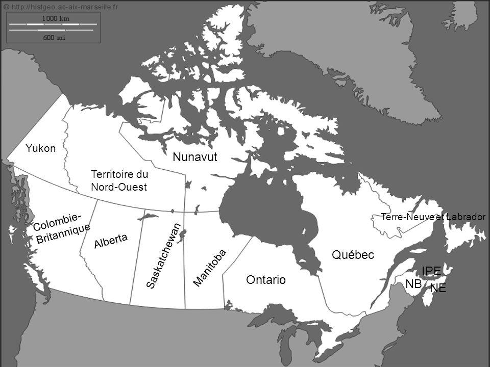 Nunavut Québec IPE Ontario NB NE Yukon Territoire du Nord-Ouest