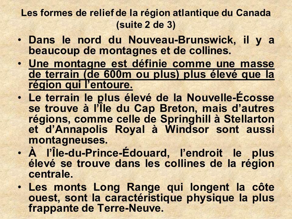 Les formes de relief de la région atlantique du Canada (suite 2 de 3)