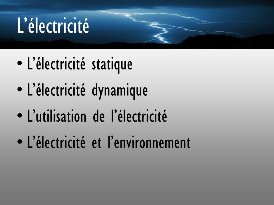 L'électricité L'électricité statique L'électricité dynamique