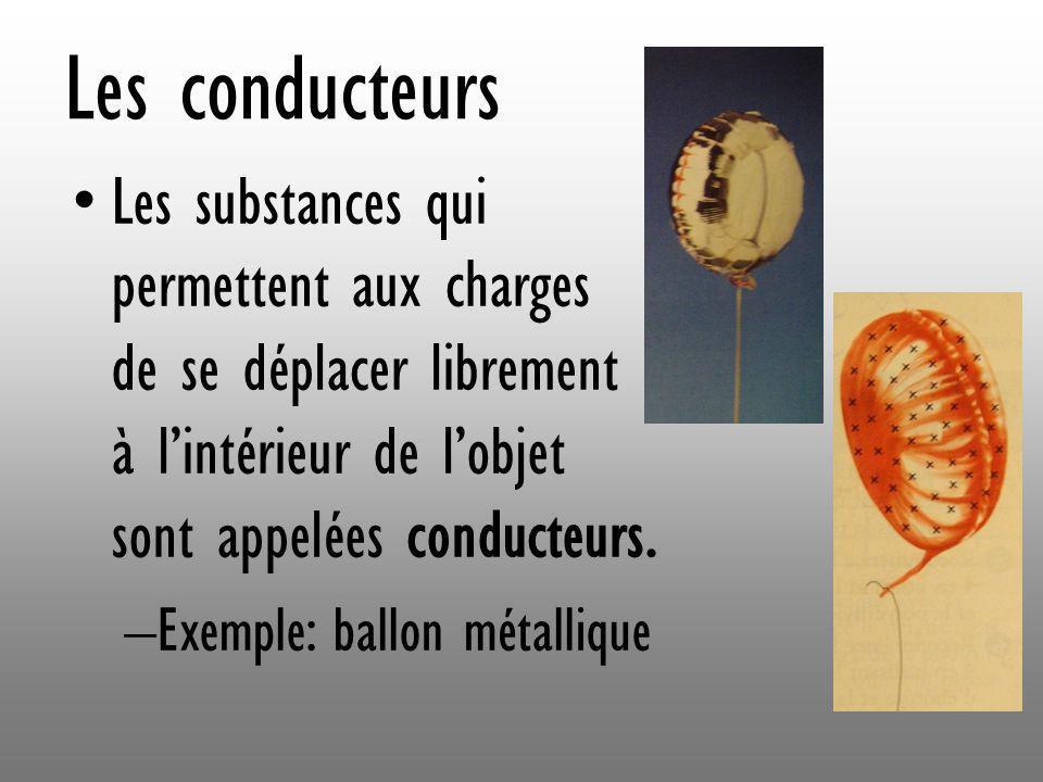 Les conducteurs Les substances qui permettent aux charges de se déplacer librement à l'intérieur de l'objet sont appelées conducteurs.