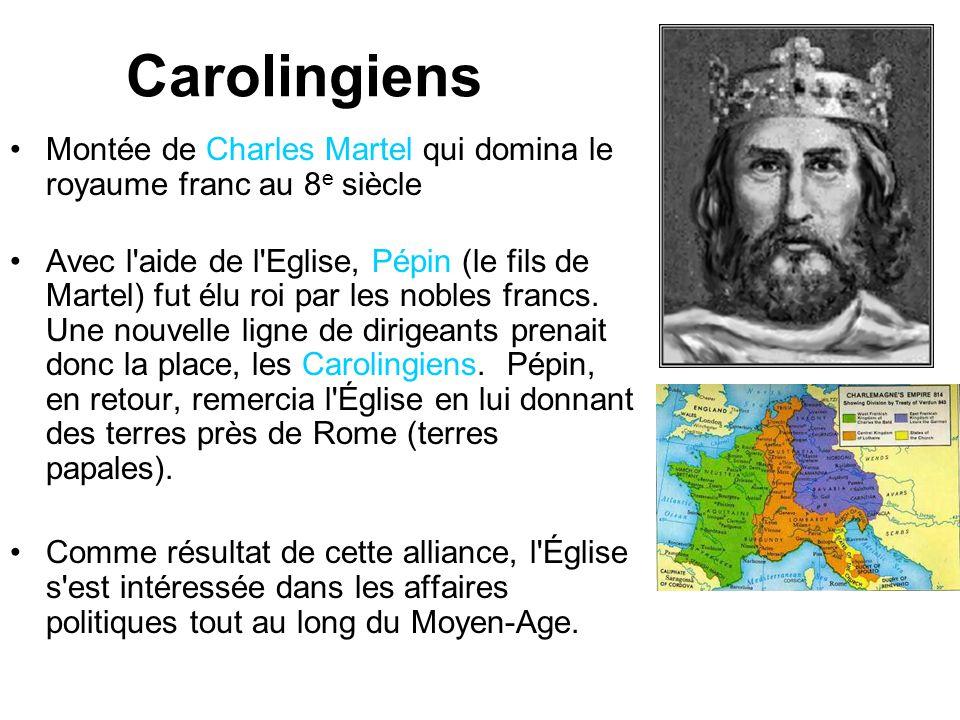 Carolingiens Montée de Charles Martel qui domina le royaume franc au 8e siècle.