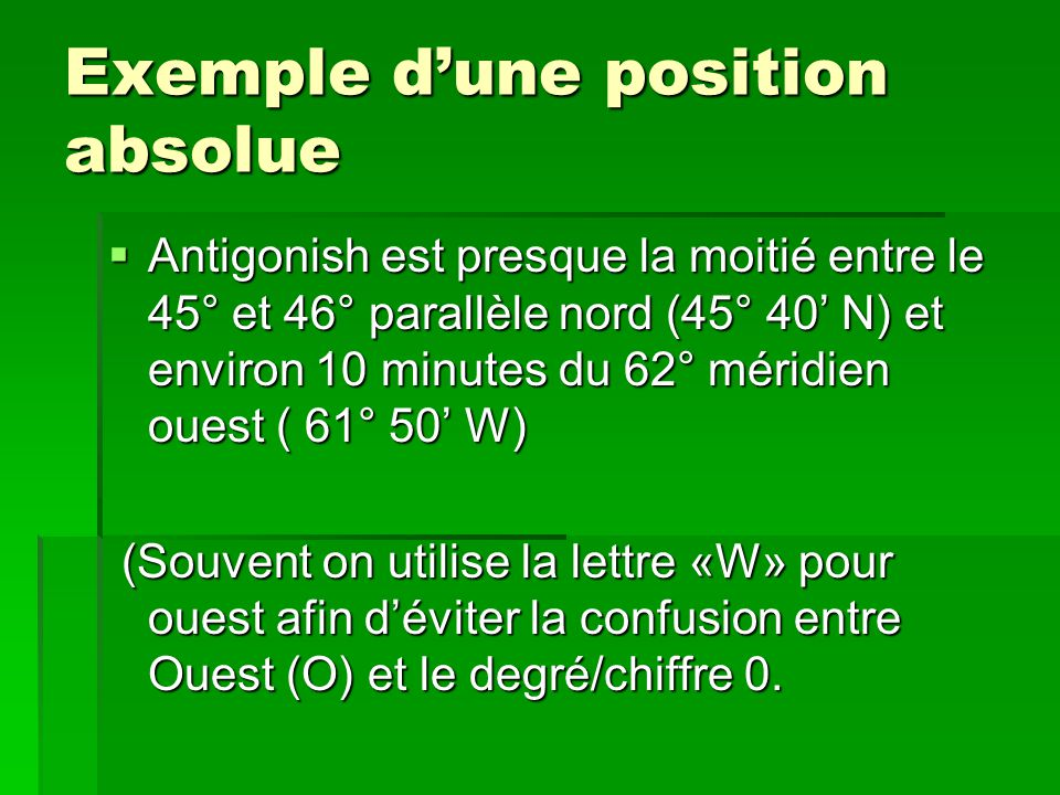 Exemple d'une position absolue