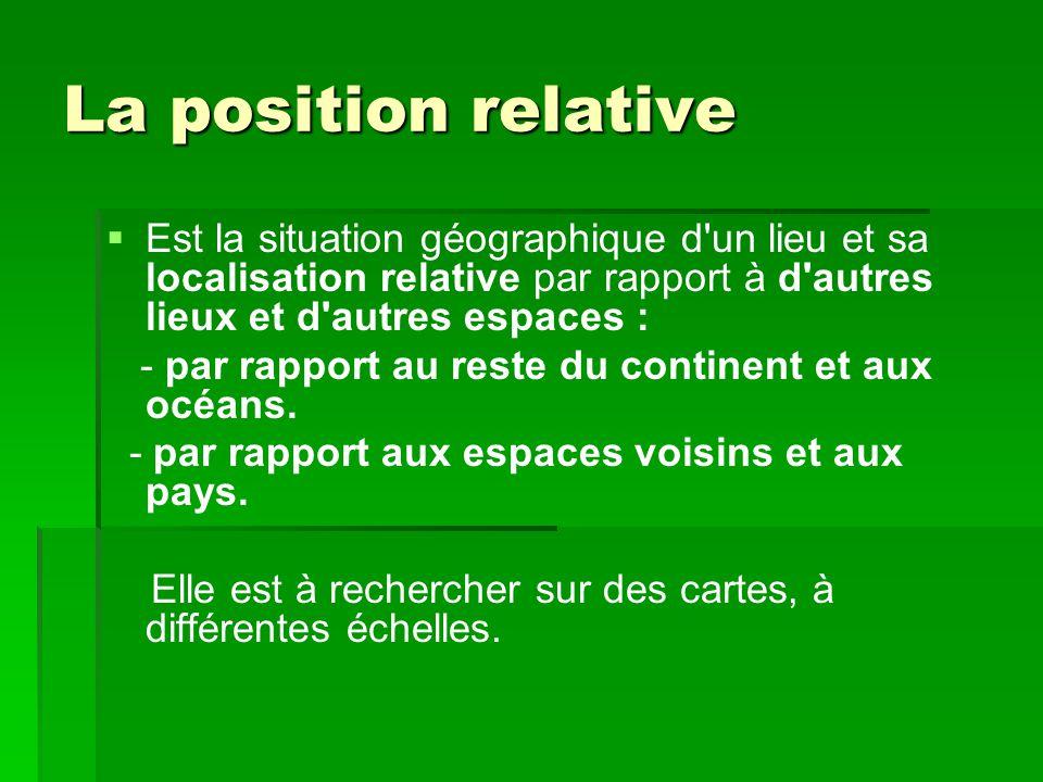 La position relative Est la situation géographique d un lieu et sa localisation relative par rapport à d autres lieux et d autres espaces :