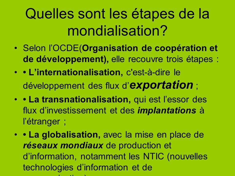 Quelles sont les étapes de la mondialisation