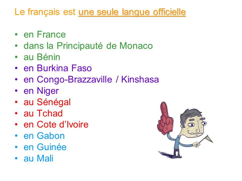 Le français est une seule langue officielle