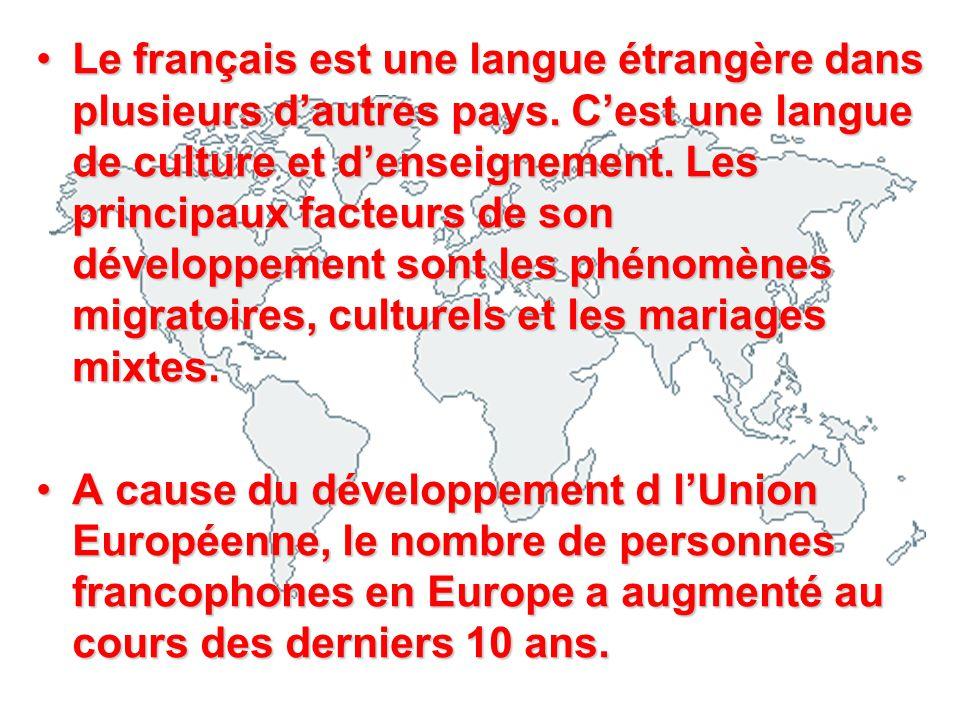 Le français est une langue étrangère dans plusieurs d'autres pays