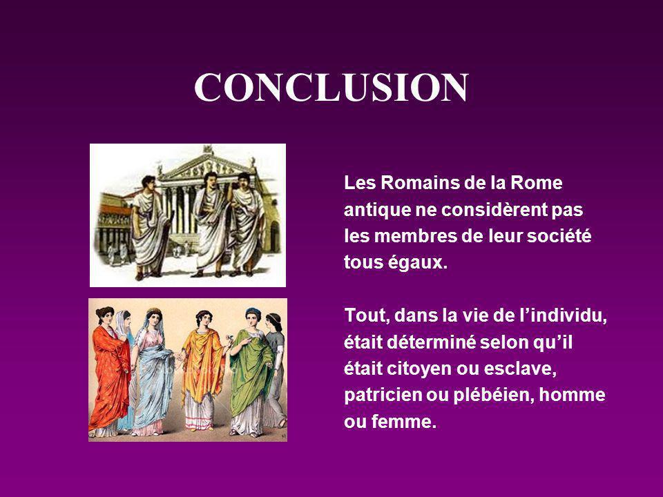 CONCLUSION Les Romains de la Rome antique ne considèrent pas