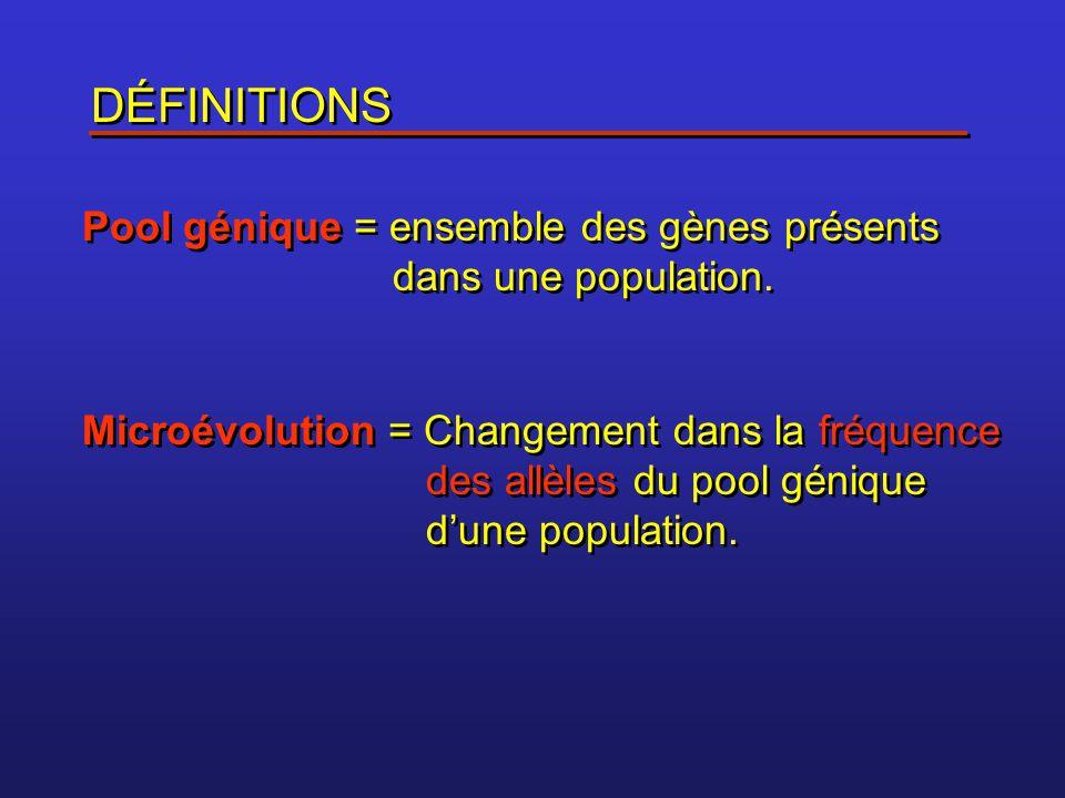 DÉFINITIONS Pool génique = ensemble des gènes présents dans une population.