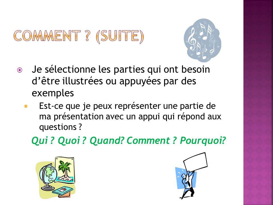 Comment (Suite) Je sélectionne les parties qui ont besoin d'être illustrées ou appuyées par des exemples.