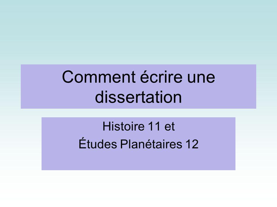 ecrire un plan de dissertation