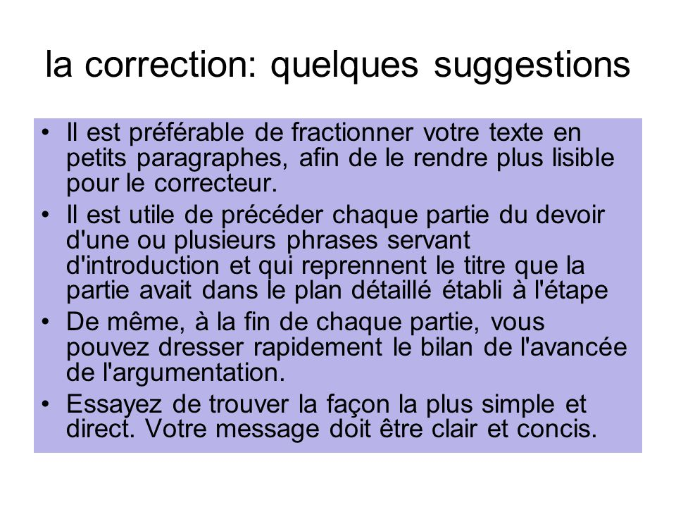 la correction: quelques suggestions