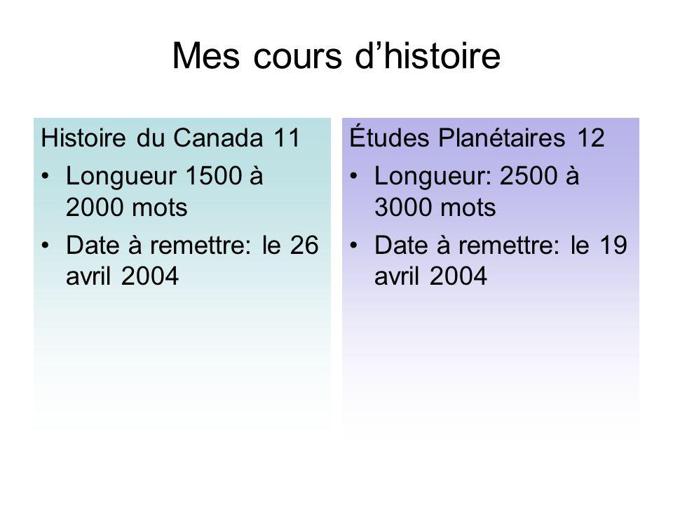 Mes cours d'histoire Histoire du Canada 11 Longueur 1500 à 2000 mots