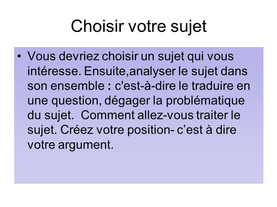 Choisir votre sujet