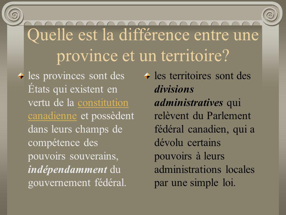 Quelle est la différence entre une province et un territoire
