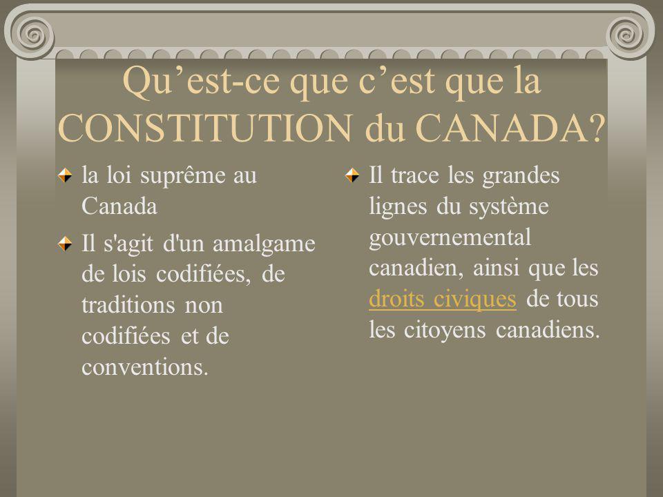 Qu'est-ce que c'est que la CONSTITUTION du CANADA