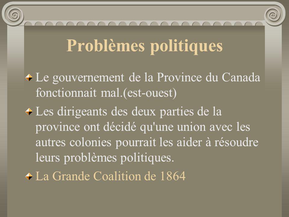 Problèmes politiques Le gouvernement de la Province du Canada fonctionnait mal.(est-ouest)