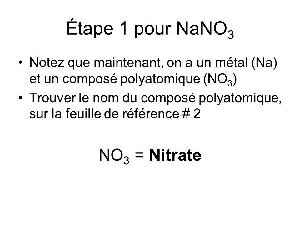 Étape 1 pour NaNO3 NO3 = Nitrate