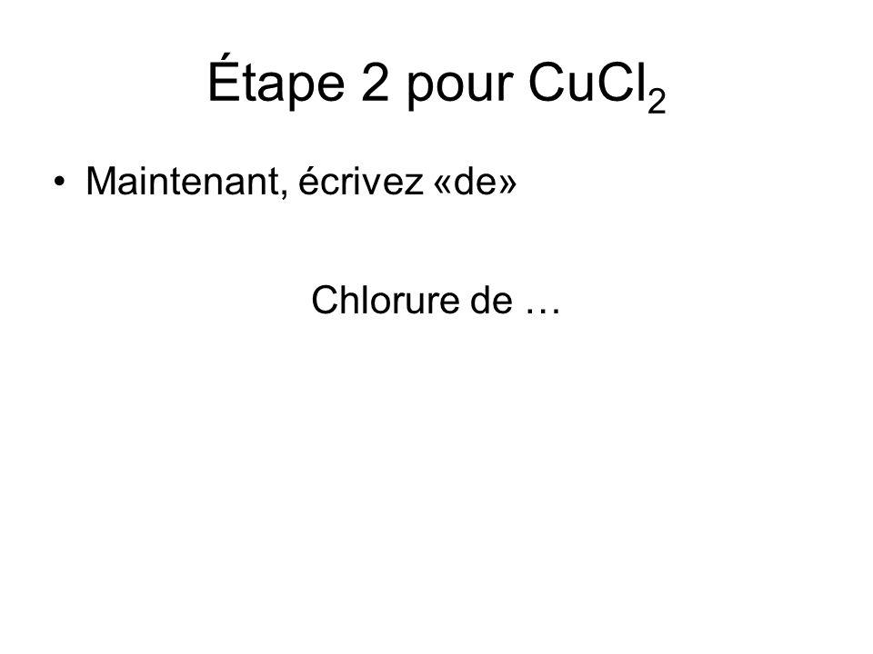 Étape 2 pour CuCl2 Maintenant, écrivez «de» Chlorure de …