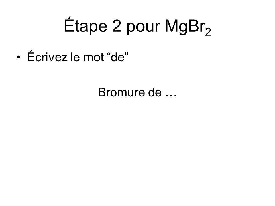 Étape 2 pour MgBr2 Écrivez le mot de Bromure de …