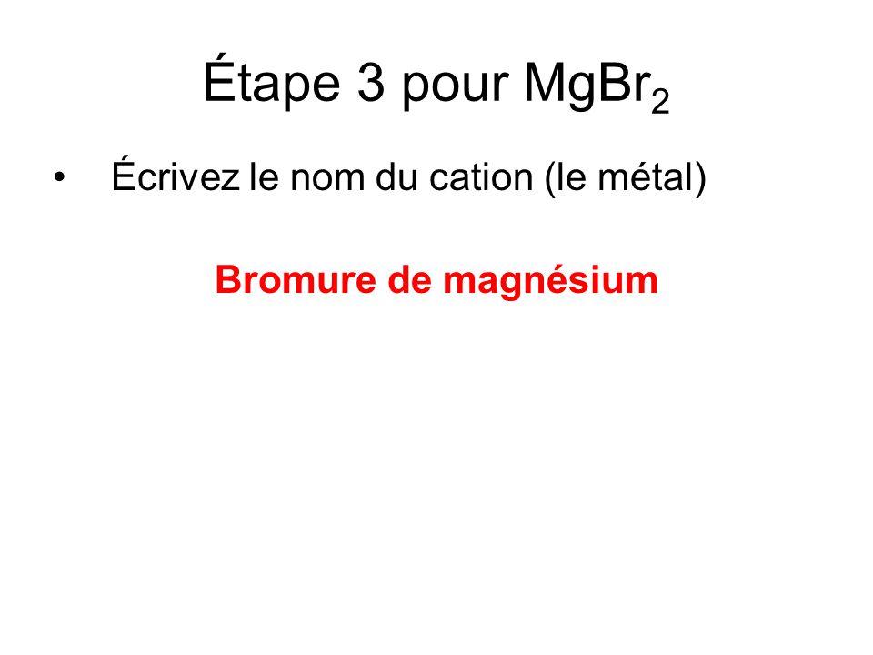 Étape 3 pour MgBr2 Écrivez le nom du cation (le métal)