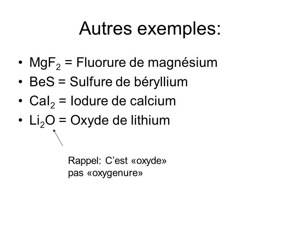 Autres exemples: MgF2 = Fluorure de magnésium