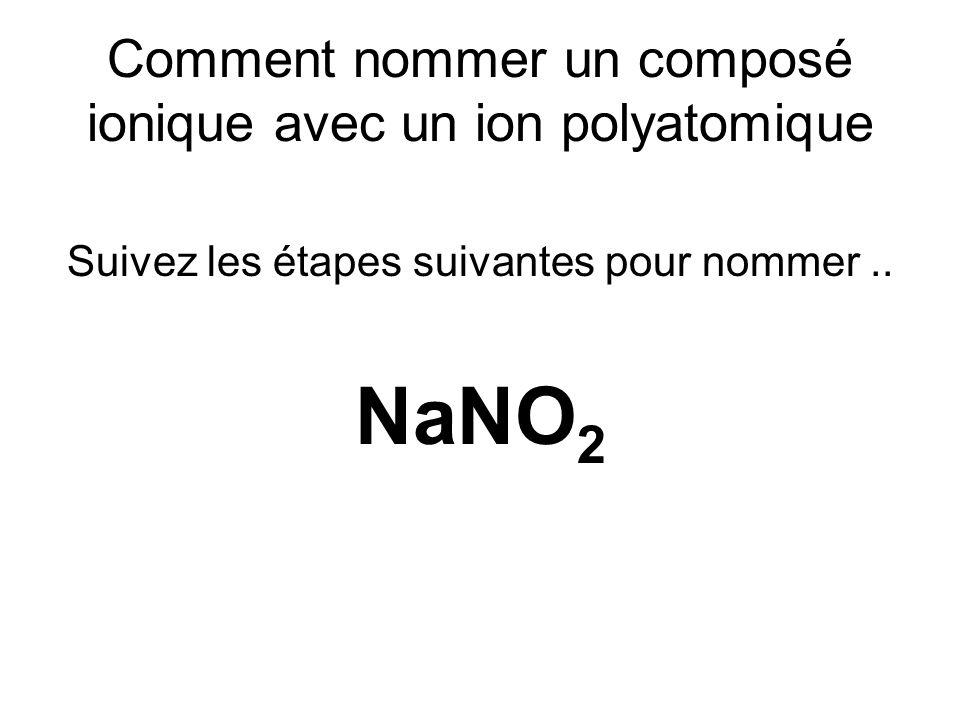 Comment nommer un composé ionique avec un ion polyatomique