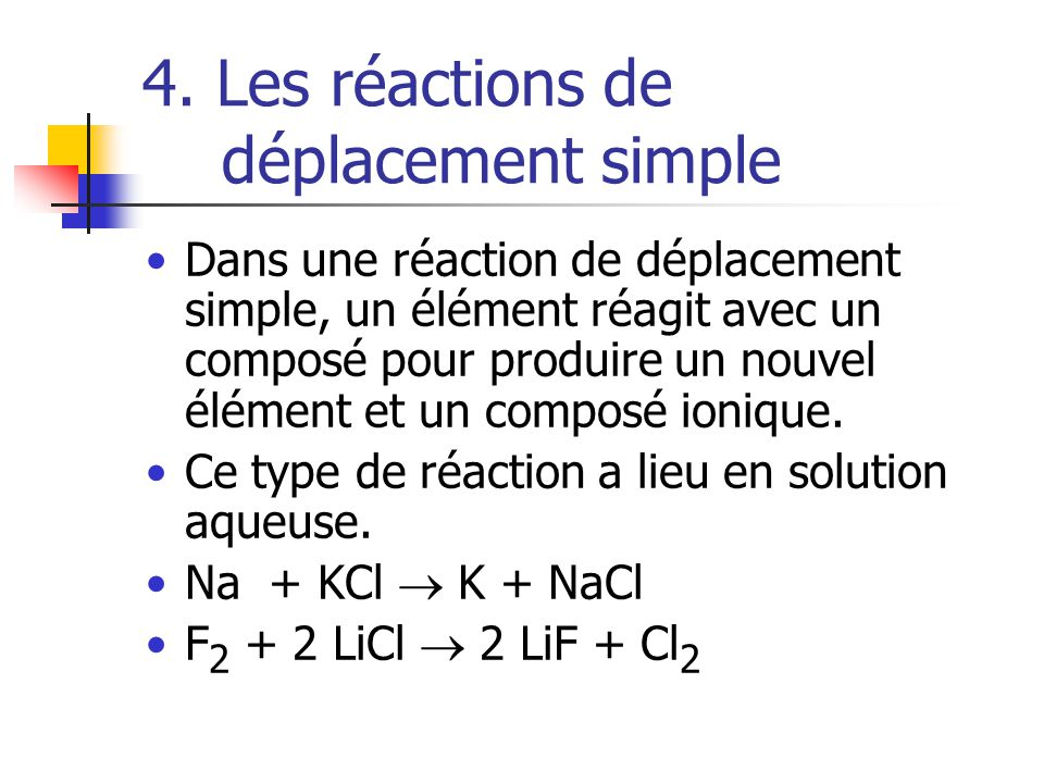 4. Les réactions de déplacement simple