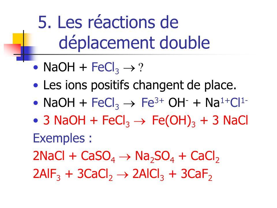 5. Les réactions de déplacement double