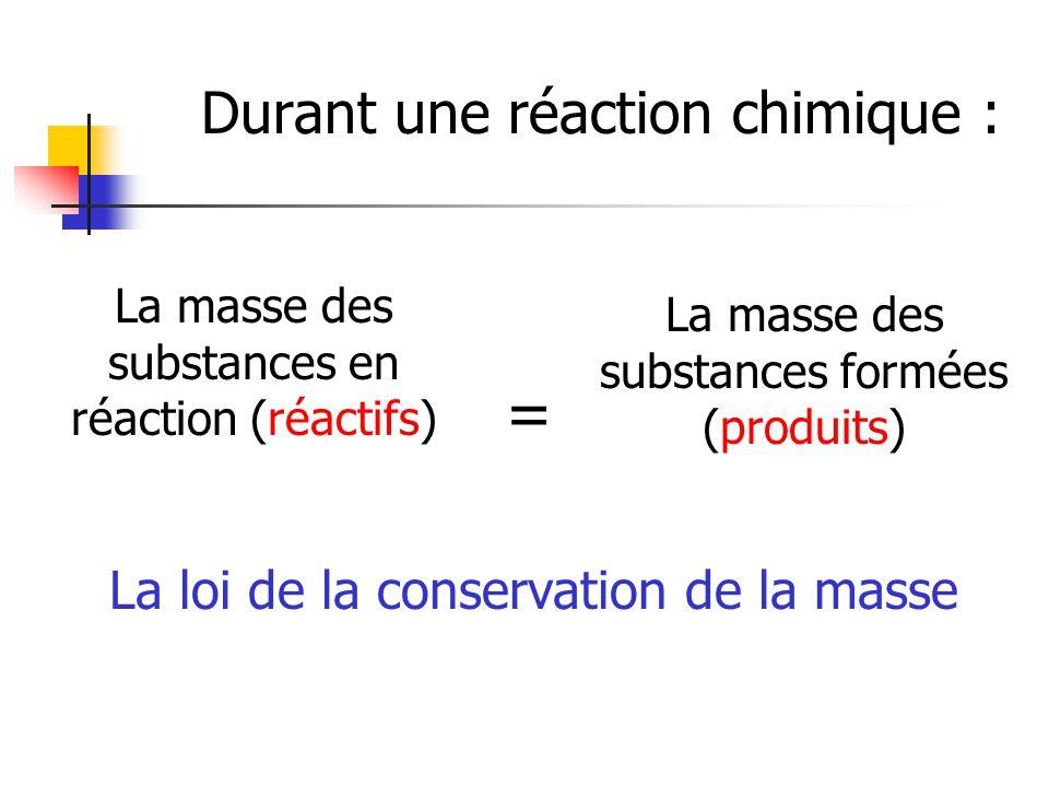 = Durant une réaction chimique : La loi de la conservation de la masse