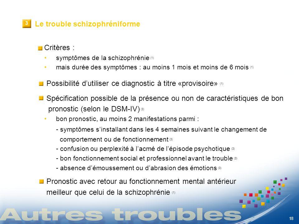 Le trouble schizophréniforme