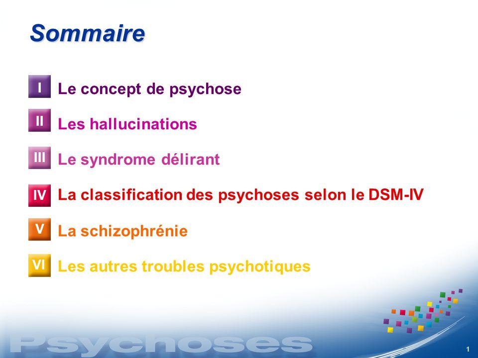 Sommaire Le concept de psychose Les hallucinations
