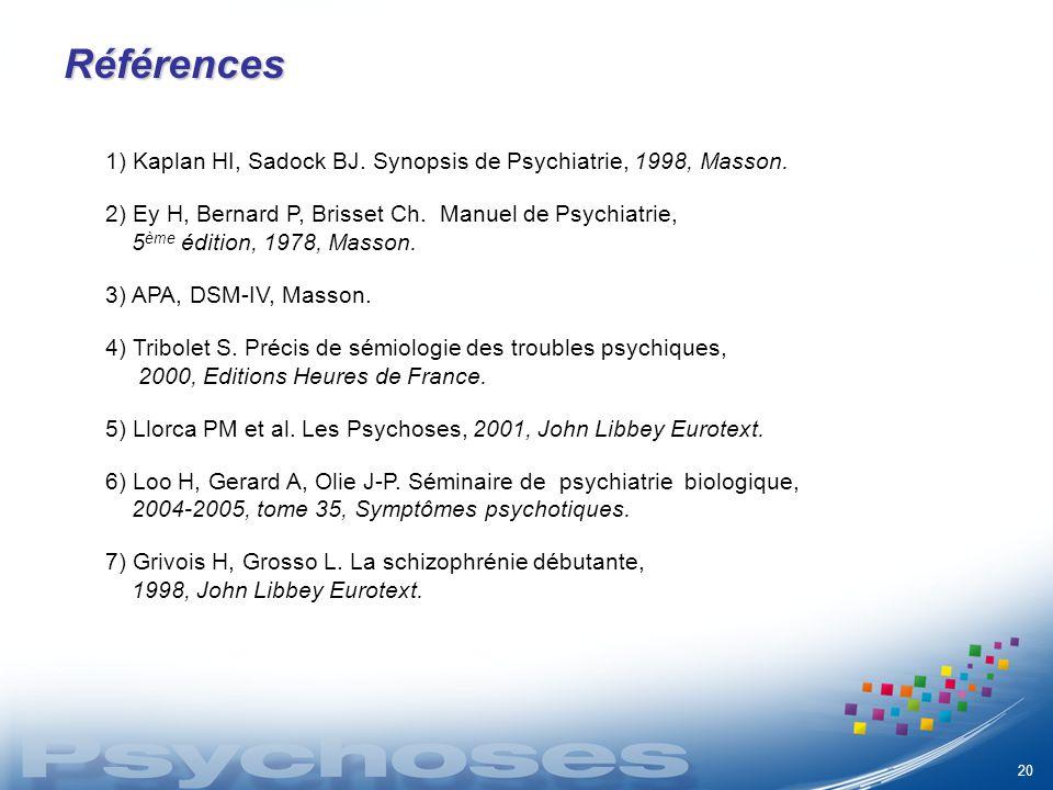 Références 1) Kaplan HI, Sadock BJ. Synopsis de Psychiatrie, 1998, Masson. 2) Ey H, Bernard P, Brisset Ch. Manuel de Psychiatrie,