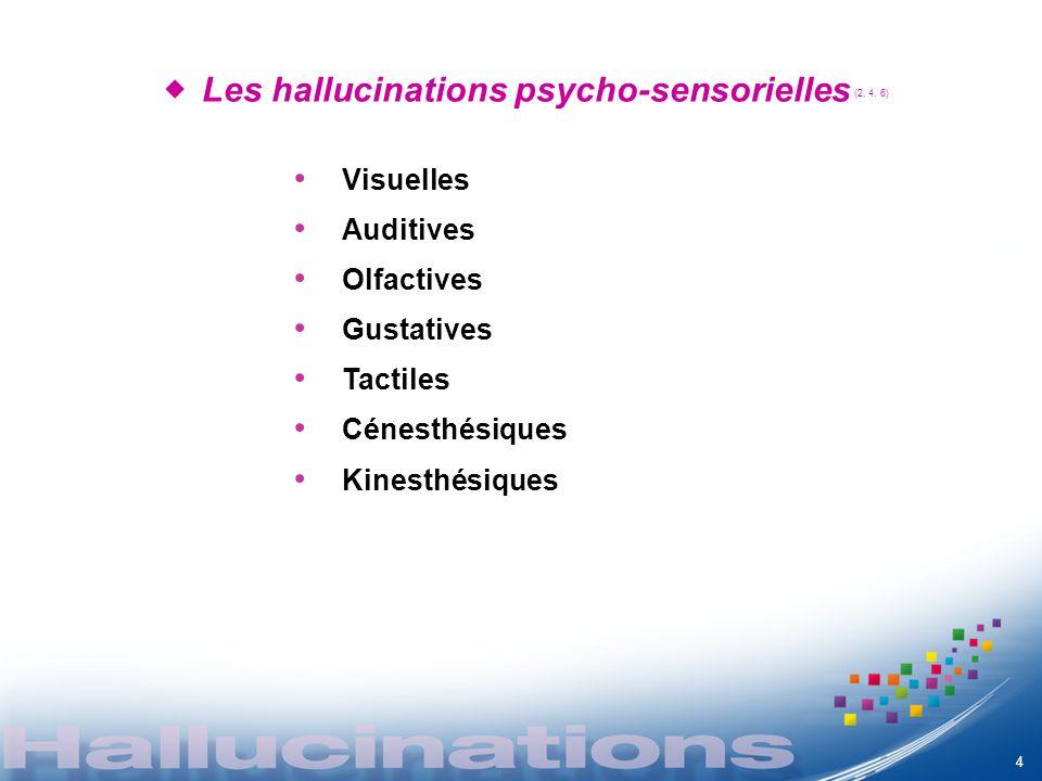 Les hallucinations psycho-sensorielles (2, 4, 6)