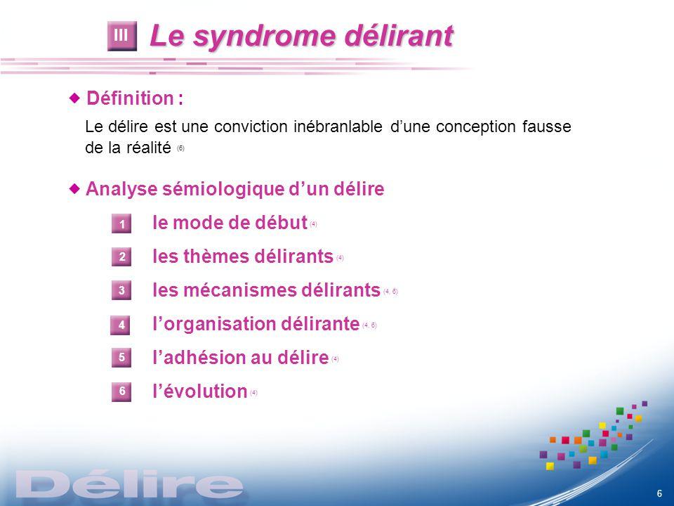 Le syndrome délirant  Définition :