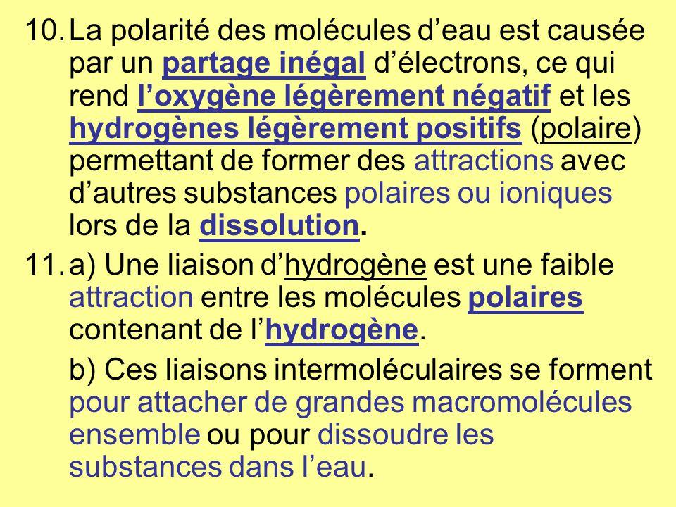 La polarité des molécules d'eau est causée par un partage inégal d'électrons, ce qui rend l'oxygène légèrement négatif et les hydrogènes légèrement positifs (polaire) permettant de former des attractions avec d'autres substances polaires ou ioniques lors de la dissolution.