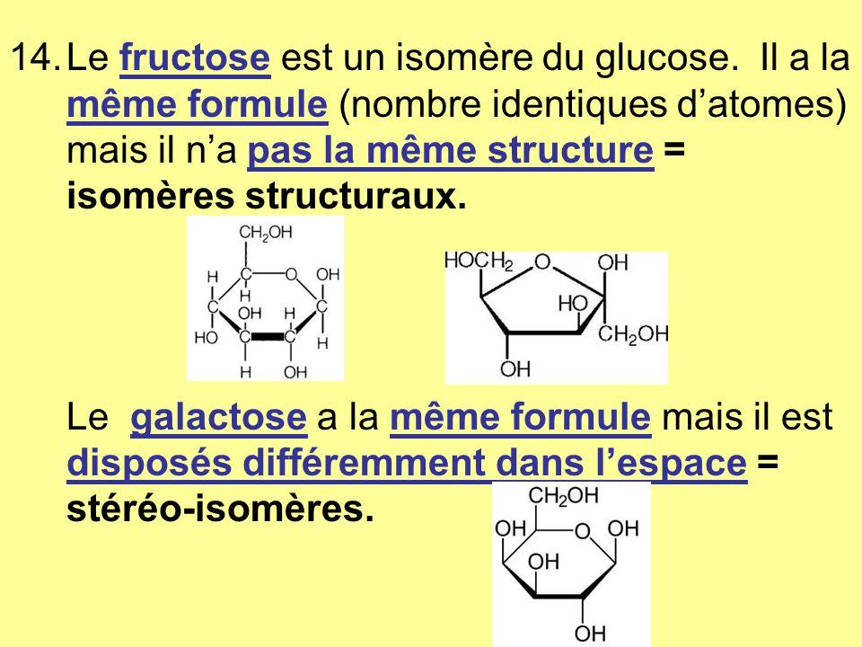 Le fructose est un isomère du glucose