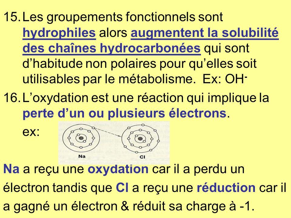 Les groupements fonctionnels sont hydrophiles alors augmentent la solubilité des chaînes hydrocarbonées qui sont d'habitude non polaires pour qu'elles soit utilisables par le métabolisme. Ex: OH-