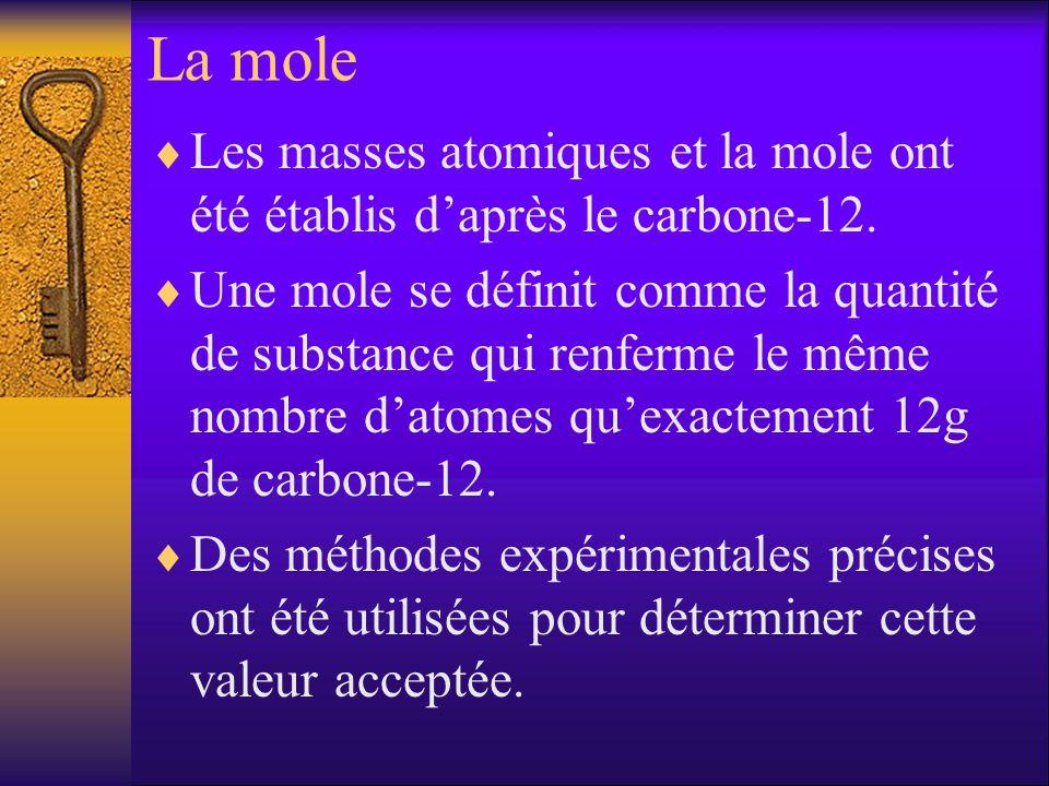 La mole Les masses atomiques et la mole ont été établis d'après le carbone-12.