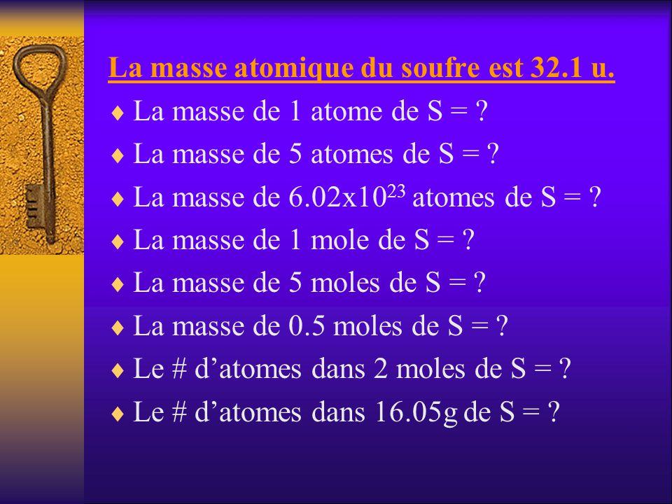 La masse atomique du soufre est 32.1 u.