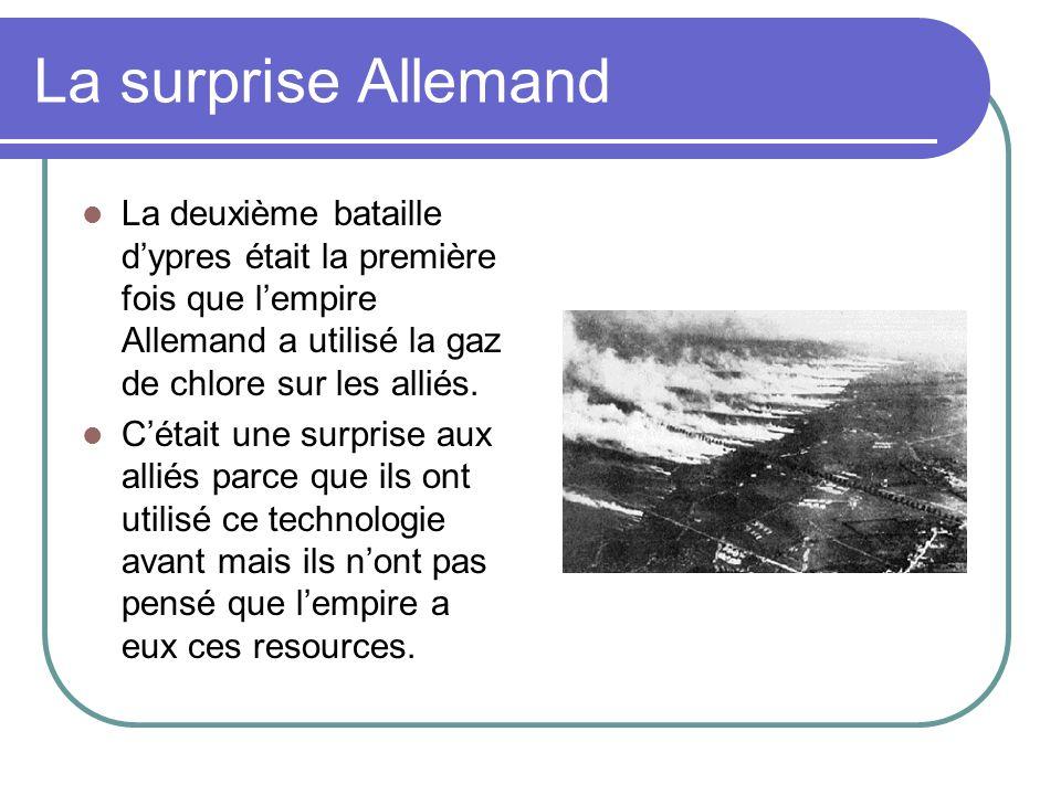 La surprise Allemand La deuxième bataille d'ypres était la première fois que l'empire Allemand a utilisé la gaz de chlore sur les alliés.