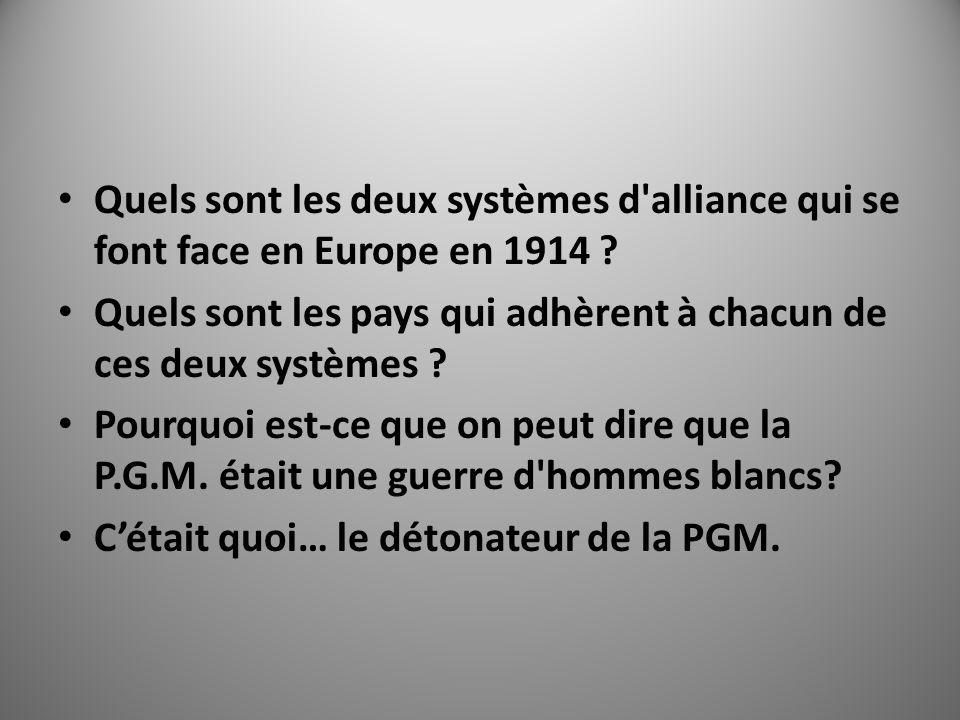 Quels sont les deux systèmes d alliance qui se font face en Europe en 1914