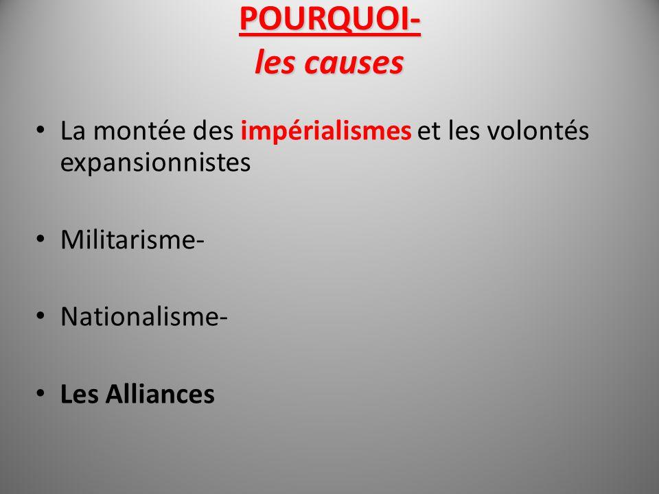 POURQUOI- les causes La montée des impérialismes et les volontés expansionnistes. Militarisme- Nationalisme-