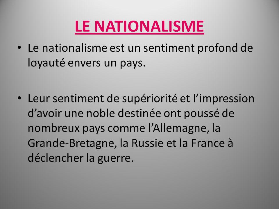 LE NATIONALISME Le nationalisme est un sentiment profond de loyauté envers un pays.