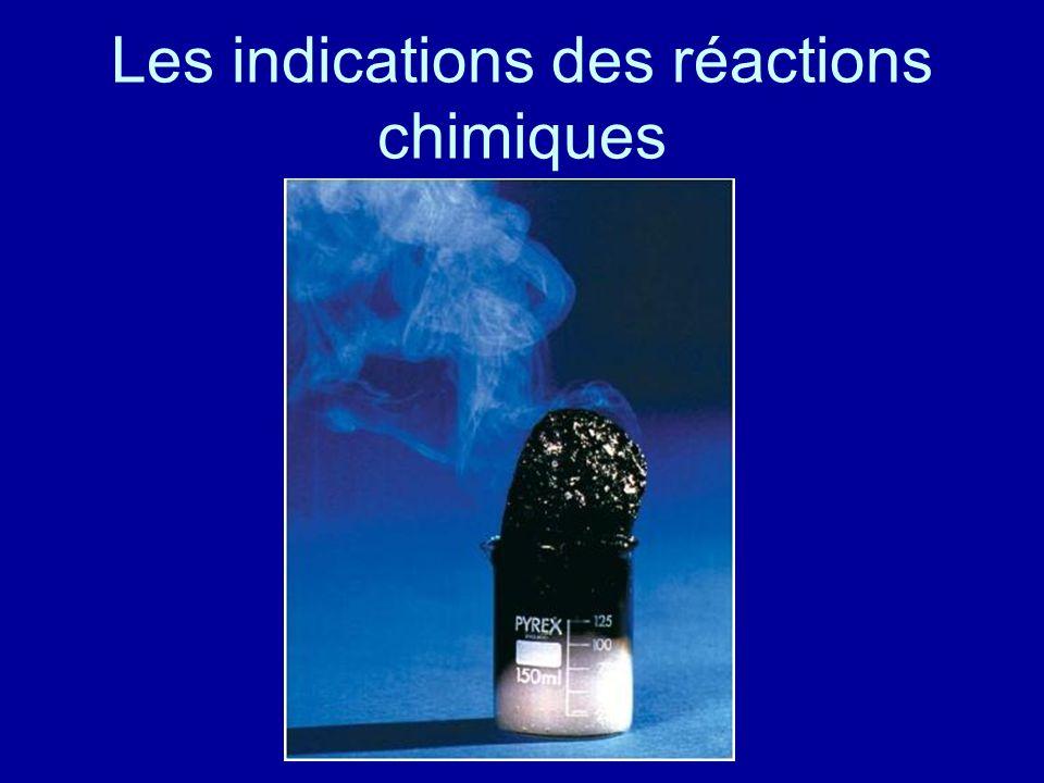 Les indications des réactions chimiques