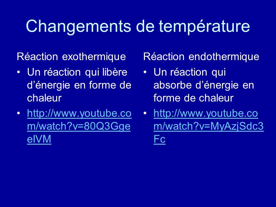 Changements de température