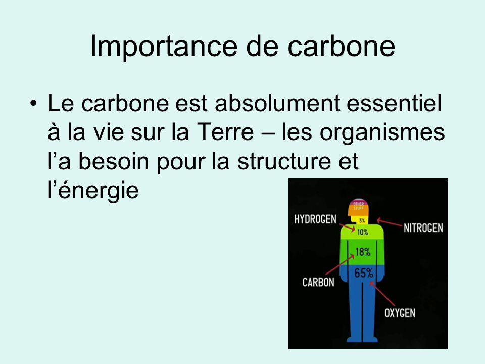 Importance de carbone Le carbone est absolument essentiel à la vie sur la Terre – les organismes l'a besoin pour la structure et l'énergie.