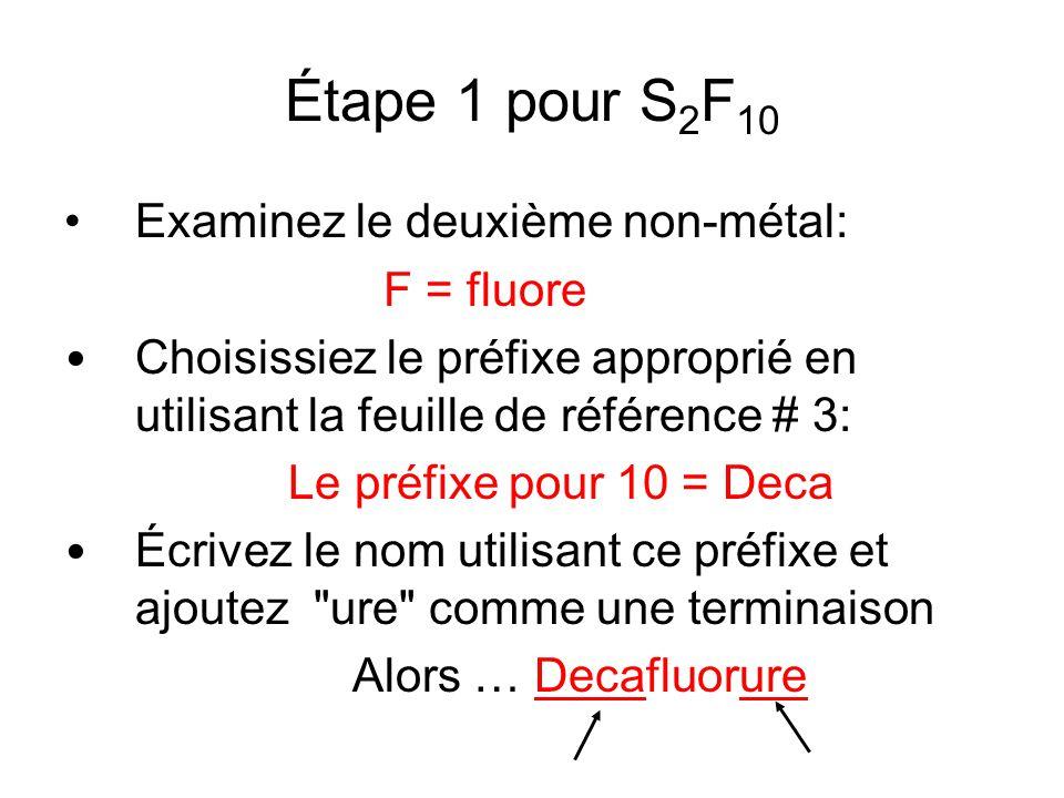 Étape 1 pour S2F10 Examinez le deuxième non-métal: F = fluore