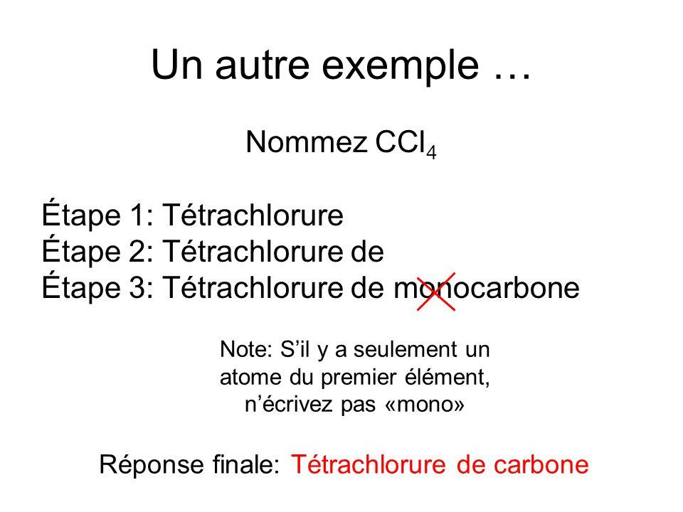 Réponse finale: Tétrachlorure de carbone