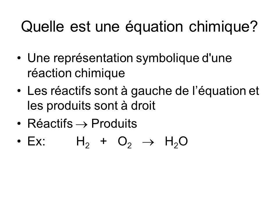 Quelle est une équation chimique